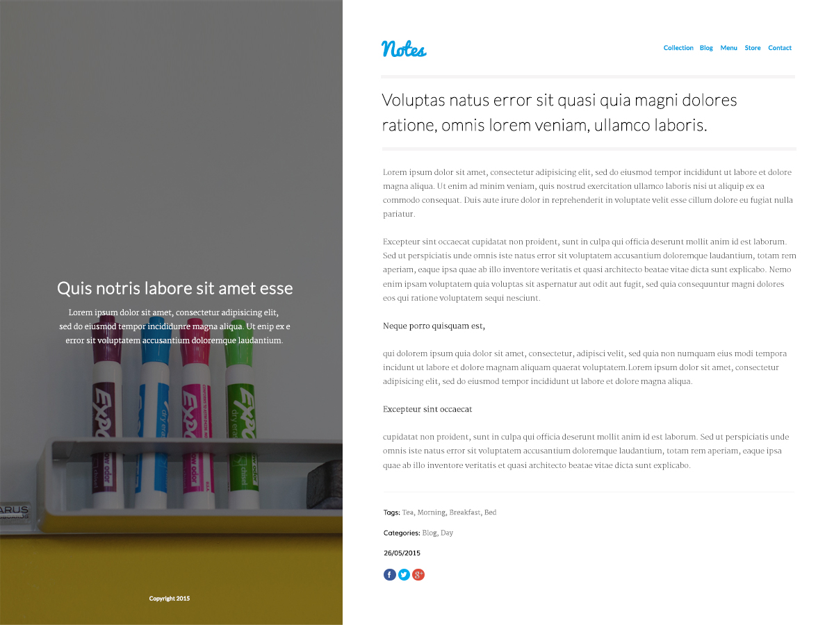 Sitebuilder Notes template voorbeeld