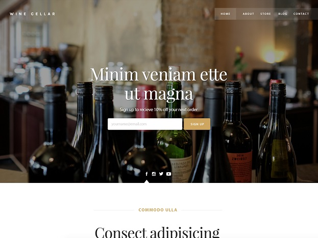 Sitebuilder Wine-cellar template voorbeeld
